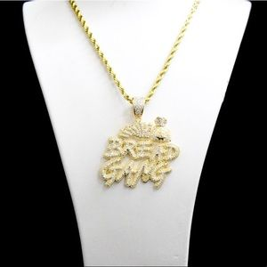 Other - Gold Finish Lab Diamond BREAD GANG Charm Chain